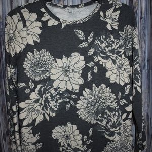 Soul Cake Floral Top Long Sleeve Gray Lace Back